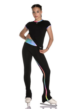 thermal training leggings for figure skating with glitter rainbow inserts