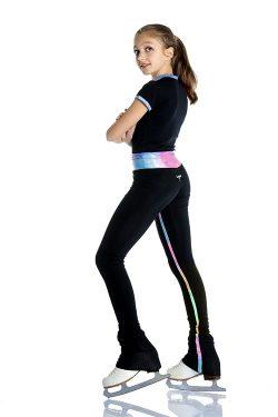 pantalone da pattinaggio con inserti verticali glitter