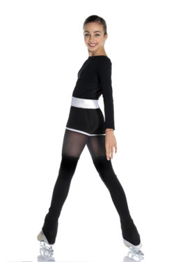 figure skating pants for girls and women with mesh insert and silver glitter