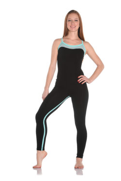 Tight-fitting jumpsuit in stretch cotton with a bustier neckline and crossed shoulder straps available in various colours.