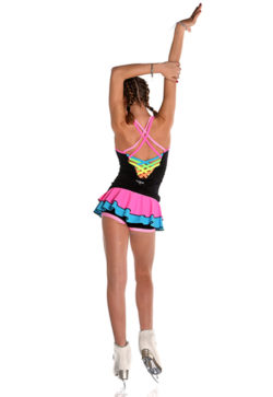 Tight-fitting tank top in technical fabric for ice skating and roller skating with double shoulder straps and crisscross in rainbow colours on the back.
