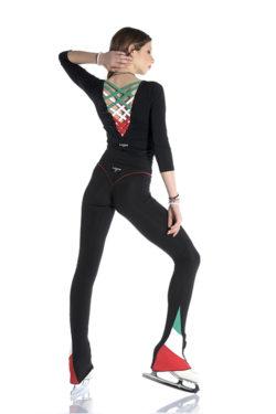 ragazza con maglia per pattinaggio su ghiaccio con scollo a V e incroci tricolore Italia sulla schiena