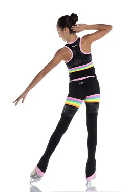 Pants and racerback tank top for ice skating with rainbow inserts