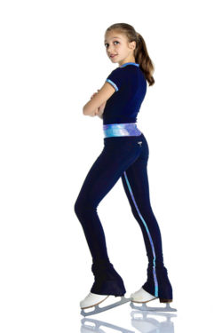 blue figure skating trousers with glitter inserts on the inside leg