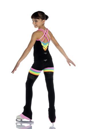 pantalone e canotta per pattinaggio da bambina e ragazza con inserti arcobaleno