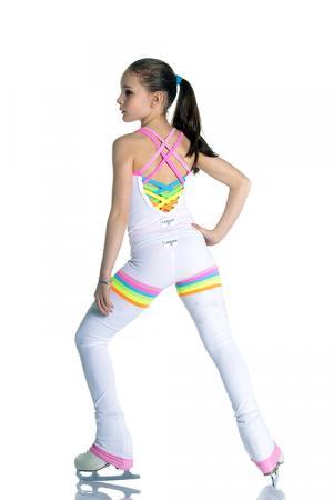 completo pantalone e canotta da pattinaggio bianco con inserti arcobaleno