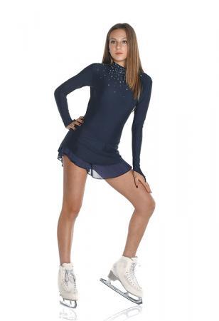 vestito da gara per pattinaggio con collo lupetto blu