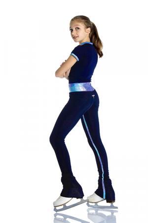 pantalone per pattinaggio di figura blu con inserti glitter nell'interno gamba