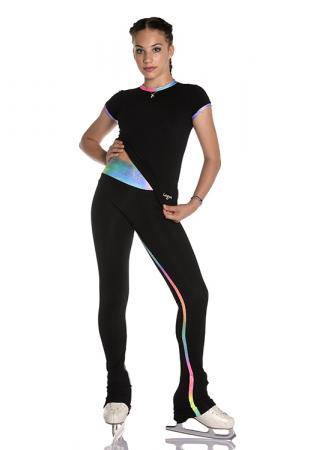 pantalone termico da allenamento per pattinaggio di figura con inserti glitter